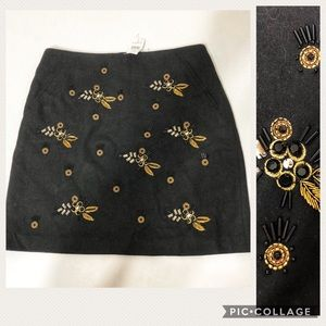 🆕 Loft Beaded Wool Pencil Skirt NWT Sz 2
